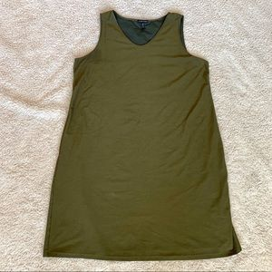 Eileen Fisher XL dark green knit sleeveless dress